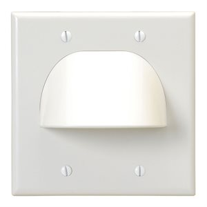 Vanco Dual-Gang Bulk Cable Wall Plate (white)