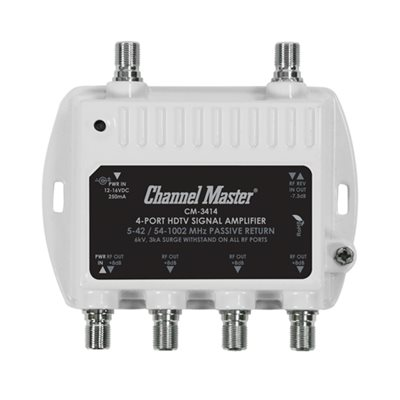 Channel Master 4-Way Dist Amp 8dB 50–1,000MHz w / Return Path