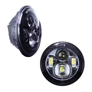 "Heise Jeep 7"" Round 6-LED Headlight Set (black front face)"