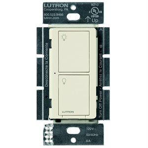 Lutron Caséta 5A 2-Button RF Switch (light almond)