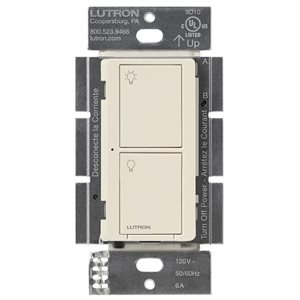 Lutron Caséta 6A 2-Button RF Switch (lt almond)