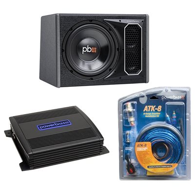 "PowerBass Single 12"" Subwoofer / Amp Kit with 8 ga Wiring Kit"
