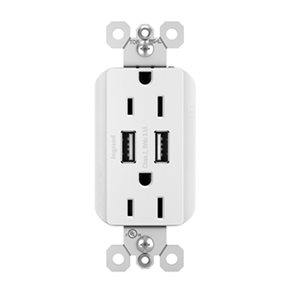 On-Q Decorator 15A Duplex USB Charger Outlet (white)