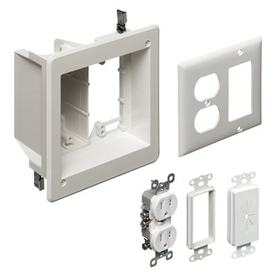 Arlington 2-Gang Recessed TV Box Kit