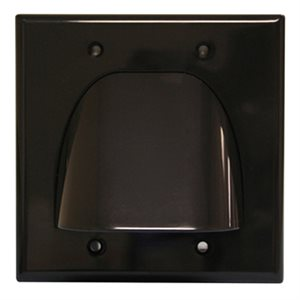 Quest Dual-Gang Cable Wall Plate (black)